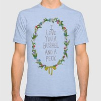 I Love You And Bushel An… Mens Fitted Tee Athletic Blue SMALL