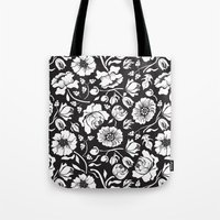 Black Russian Floral Tote Bag