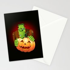 Frankenstein Monster Cartoon with Pumpkin Stationery Cards