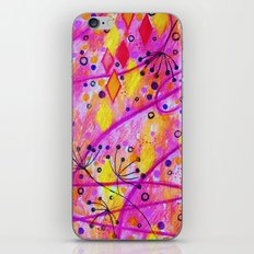 INTO THE FALL 2 - Whimsical Pink Purple Autumn Floral Watercolor Abstract Nature Pattern Fine Art  iPhone & iPod Skin