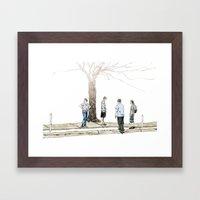 tree plus people Framed Art Print