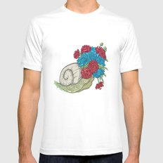 Snail White SMALL Mens Fitted Tee