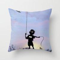 Bat Kid Throw Pillow