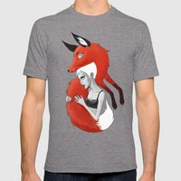 Girl and a Fox Mens Fitted Tee Tri-Grey SMALL