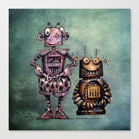 Two Funny Robots Canvas Print