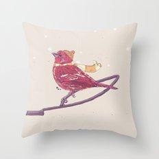 Winter Finch Throw Pillow