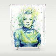 Marilyn Portrait Watercolor Painting Shower Curtain