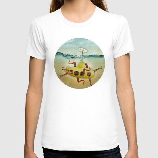 yellow submarine in an octapuses garden T-shirt