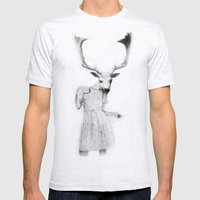 deer girl Mens Fitted Tee Ash Grey SMALL