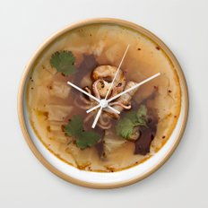 Cabbage soup with squid, shrimp and wakame. Wall Clock