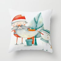 Santa And Friend Throw Pillow