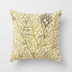 Gold Fan Coral Throw Pillow