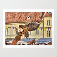 Falcon Landing On Falcon… Art Print