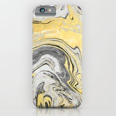 Reiko - gold grey black and white minimal marble abstract ink japanese modern monoprint art  iPhone 6 Slim Case
