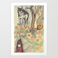 Wolf in the Woods Art Print