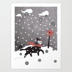 Snow Cat Art Print