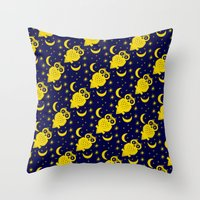 Owl Moon Starry Nights Throw Pillow