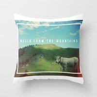 Mountain cow Throw Pillow