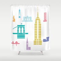 New York Skyline White Shower Curtain