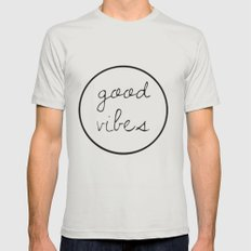 Good Vibes Mens Fitted Tee Silver SMALL