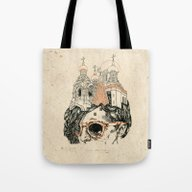 Tote Bag featuring Head Sanctuary by NVM Illustration