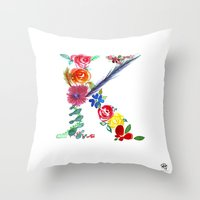 monograms - K Throw Pillow