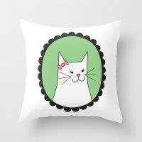 White Kitty Throw Pillow