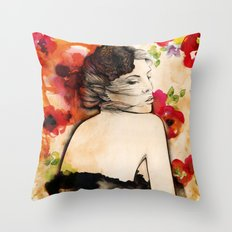 Lucy in flower fields Throw Pillow