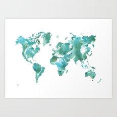 Watercolour World Map (mint/blue/green) Art Print
