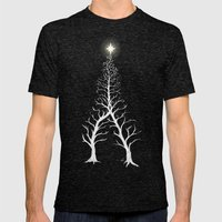Christmas Tree Intertwined - painting Mens Fitted Tee Tri-Black SMALL