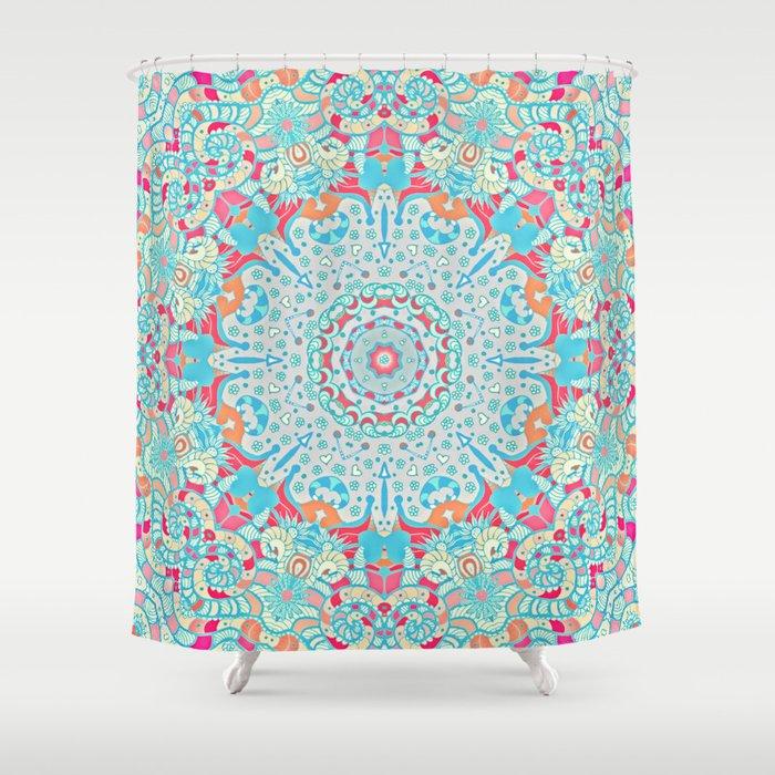 boho summer journey shower curtain by monika strigel