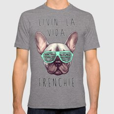 French Bulldog - Livin' … Mens Fitted Tee Tri-Grey SMALL