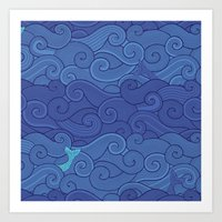 Surf Side - NAVY Art Print