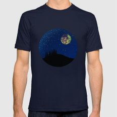 Fractal Moon Mens Fitted Tee Navy SMALL