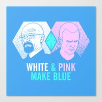 WHITE & PINK MAKE BLUE Canvas Print