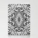 Elegant Black White Floral Lace Damask Pattern Stationery Cards