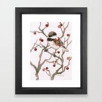 Chickadee & Berries Framed Art Print