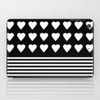 Heart Stripes White On B… iPad Case
