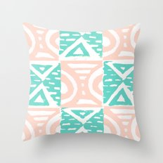 Pink and Blue Lino Print Triangles and Semi-Circles Throw Pillow