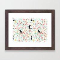 Lucky Cat Garden Framed Art Print