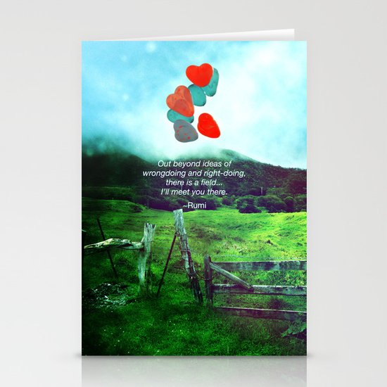 there is a field... I'll meet you there. Stationery Card
