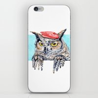 Serious Horned Owl in Red Beret  iPhone & iPod Skin