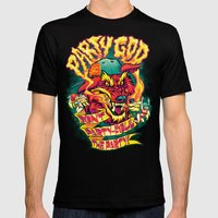 PARTY GOD (red) Mens Fitted Tee Black SMALL