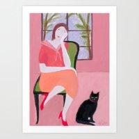Lady In Pink Room Art Print