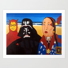 The Devil, Darth vader and Indian Chief Art Print