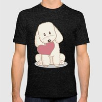 Toy Poodle Dog with Love Illustration Mens Fitted Tee Tri-Black SMALL