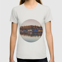 Dawn At The Lake Womens Fitted Tee Silver SMALL