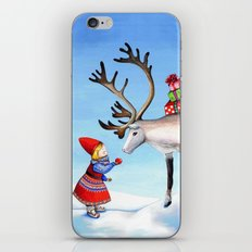 Reindeer and Little Girl iPhone & iPod Skin