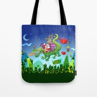 Santa changed his reindeer for a dragon Tote Bag