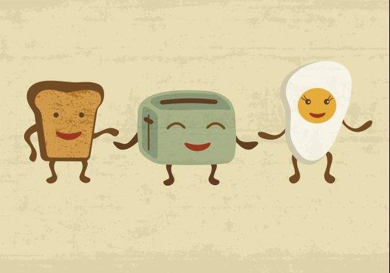 Breakfast friends Art Print